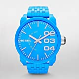 Diesel DZ1575 XL franchise neon blue dial plastic strap unisex watch NEW