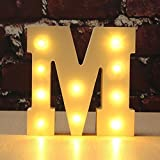 CHUQ Light Up Letters Wooden Alphabet A-Z Gift Boxed Name Wedding Party Standing or Wall Mounted Decoration (M)
