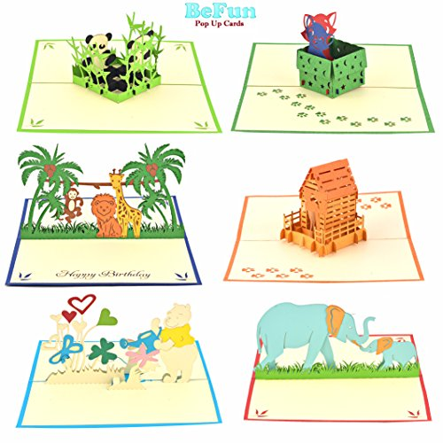 Jungle Animals Pop Up Greeting Cards-Pack of 6 Unique Designs Happy Birthday Cards for Kids, Boys & Girls by BE FUN