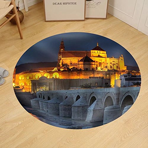 Gzhihine Custom round floor mat Cityscape of Cordoba at Sunset with Roman Bridge and Mezquita Andalusia Spain by Gzhihine