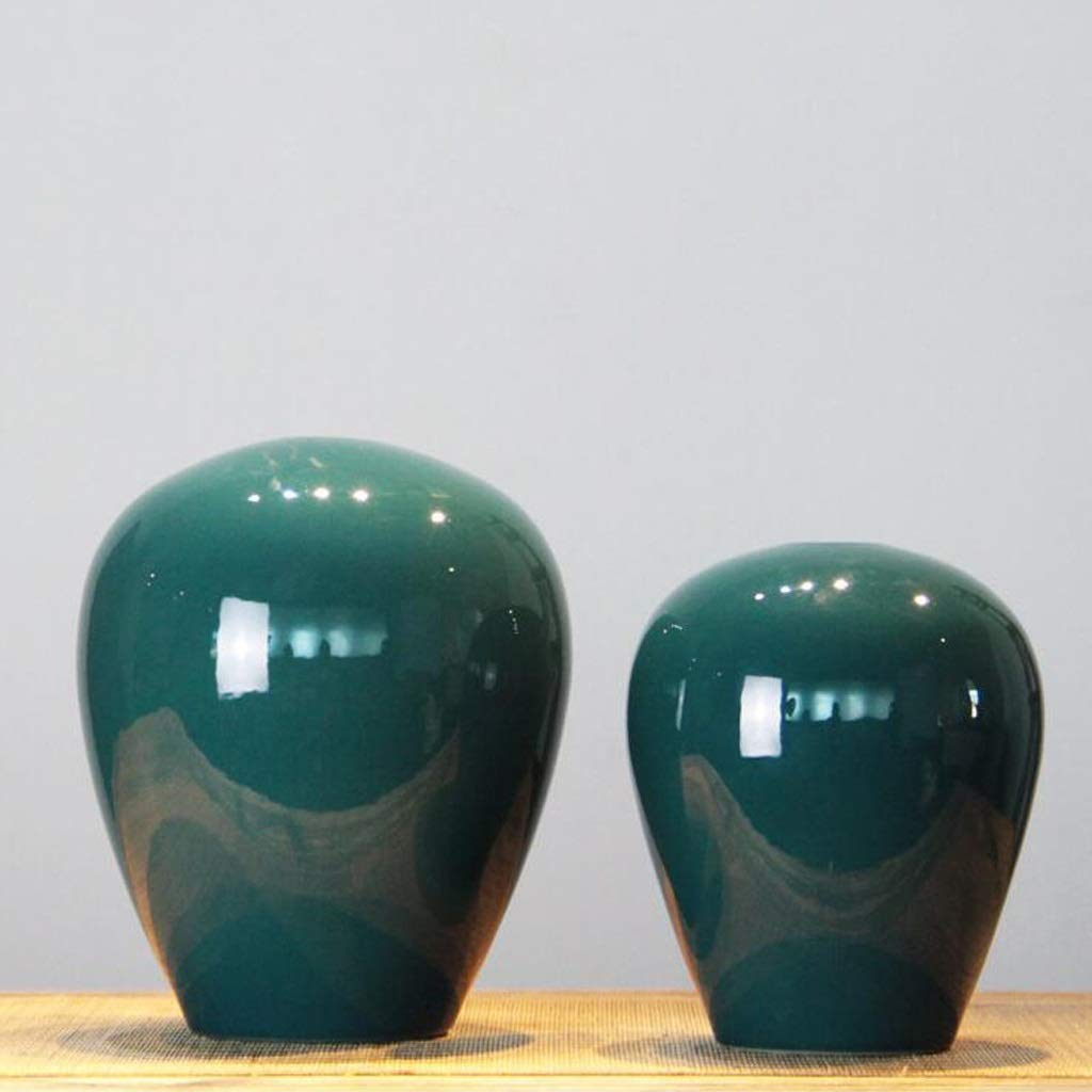 HBJP セラミック花瓶のリビングルームのプラグフラワーポット装飾ツーピース包装/緑色 花瓶 B07RX966W2