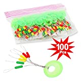 100Pcs Fishing Bobber Stopper, 6 in 1 Colorful Rubber Float Stops Fishing Float Bobber Stoppers
