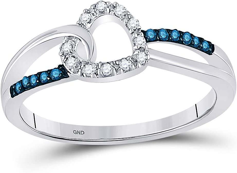 I2-I3 clarity; Blue color Jewels By Lux 10kt White Gold Womens Round Blue Color Enhanced Diamond Band Ring 1//5 Cttw In Pave Setting