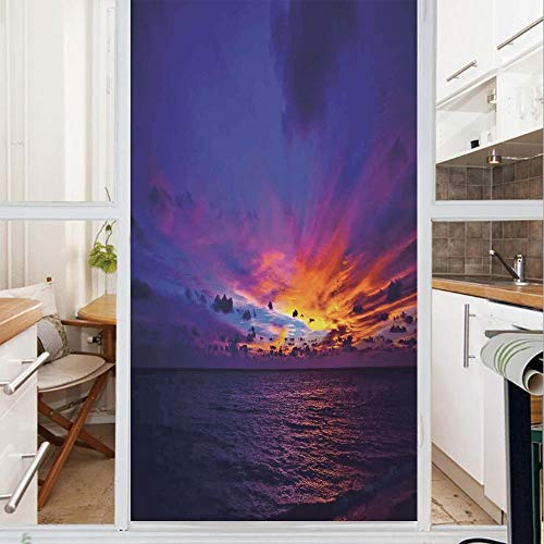 Decorative Window Film,No Glue Frosted Privacy Film,Stained Glass Door Film,Dream Sunset in Ocean Northern Lights Beyond Pacific Sea Atmosphere Photo,for Home & Office,23.6In. by 78.7In Purple Blue