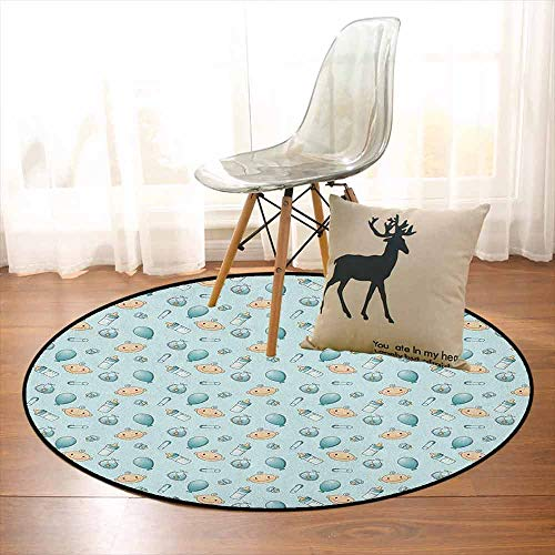 Baby Non-Slip Absorbent Carpet Infant Head with Balloons Pacifiers and Milk Bottles Newborn Inspired for Floor Carpets D47.2 Inch Baby Blue Turquoise Tan