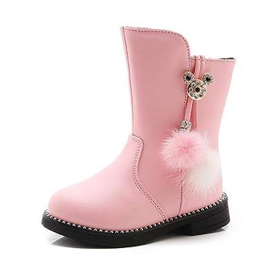 Mode Leder Bowknot Winter Stiefeletten Stiefel Mädchen OX0k8wnP