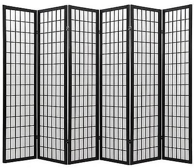 Coaster Oriental Style 4-Panel Room Screen Divider, Black Framed Black, 6 Panel