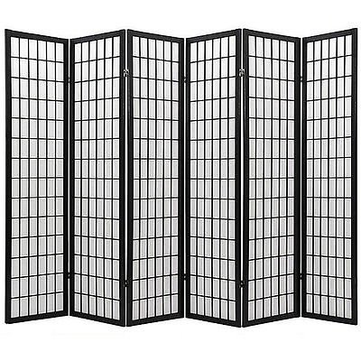 anel Wooden Screen, Cherry Finish (Black, 6 panel) (Panel Cherry Finish Wooden Screen)