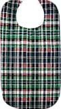 HEAD2TOE Plaid Design Adult Bib with Vinyl Backing and Snap Closure - 2 Pack