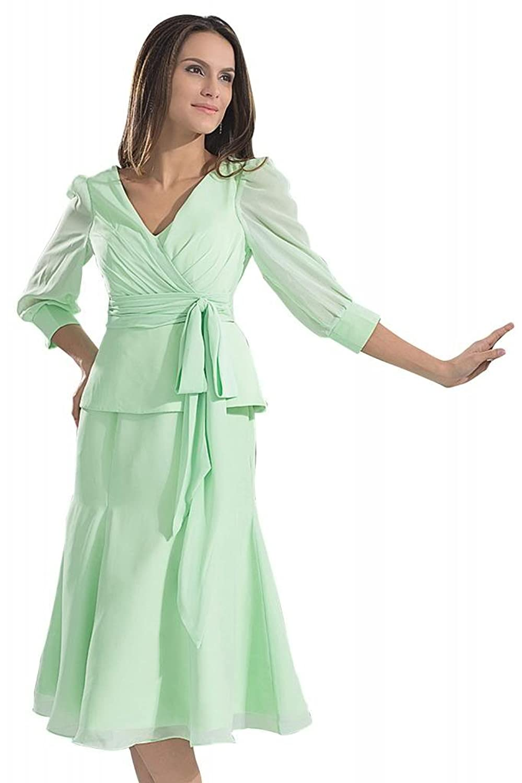 GEORGE BRIDE New V-neck Chiffon Long 3/4 Sleeves Green Evening Dress
