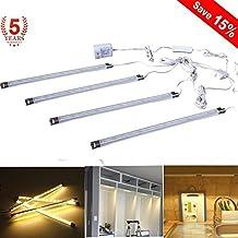 Under Cabinet LED Lighting, 4-Pack Kitchen Light Bar, 5 Watt Energy Saving Light Strip for Closet, Kitchen Cabinet, Under Counter Lighting (Warm White)
