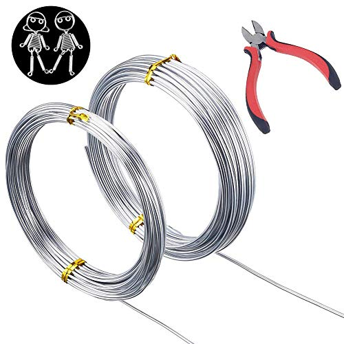 2 Rolls Silver Aluminum Wire, Bendable Metal Craft Wire Aluminum Flexible Wire Armature Wire For Jewelry Making, DIY Sculpture, Making Dolls Skeleton With A Round-Nosed Plier To Cut (49.2 Feet,1mm And