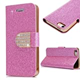 iphone 4 Case,iphone 4S Case, Welity Hot Pink Color Bling Wallet Luxury Leather Magnetic Flip Cover Case for Apple iPhone 4/4S/4G and one gift