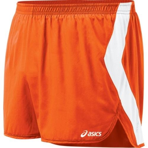 ASICS Men's Intensity 1/2 Split Shorts, Orange/White, XX-Large