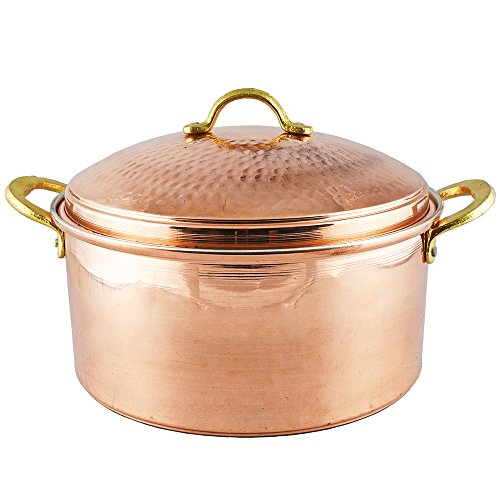 Copper Cookware 10.25 inches, 1.2 mm Thick Copper Pot, Pan, Casserole Dish, Pot, Copperware, Chef, Healthiest Cooking, Skillet, Saucepan, Wok, Kitchen Set, Healthy Casseroles