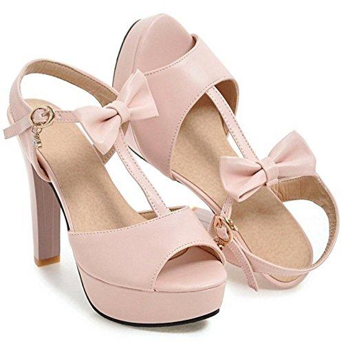 Pink Sandales Talons Mode JOJONUNU Femmes Chunky SUg44q