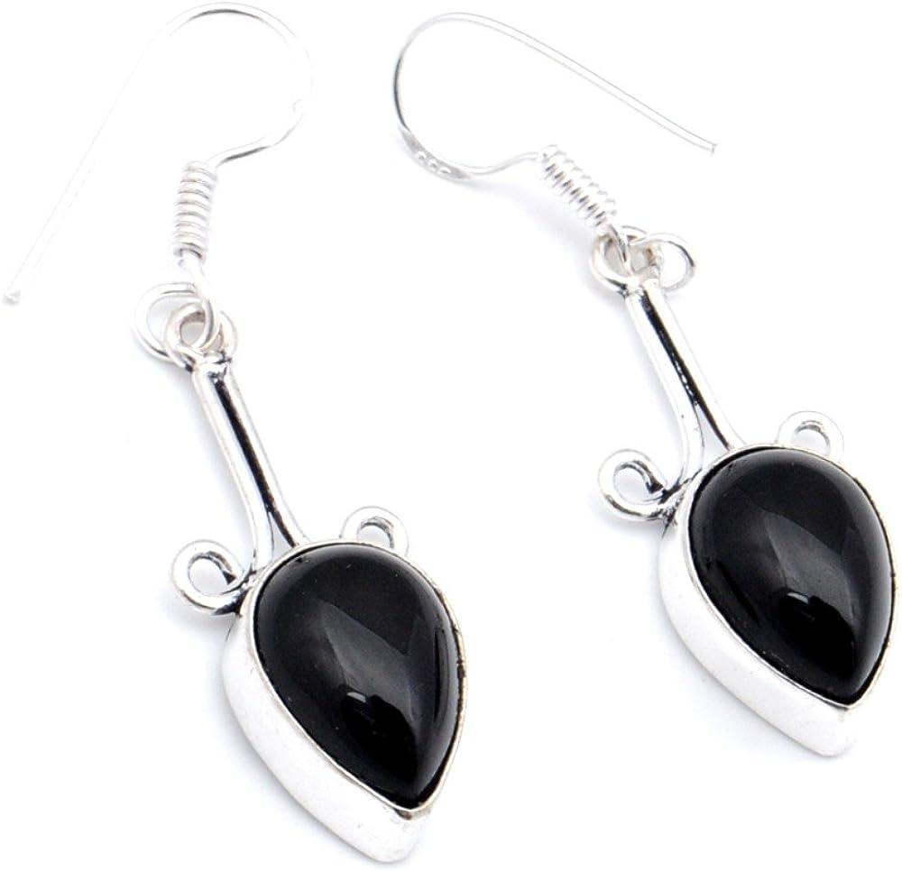 Outstanding Black Onyx Sterling Silver Overlay Earring 1.75 Handmade Jewelry