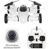 Flying Drone Car Air-Ground Drone 480P HD Camera Live Video,HT Drone Quadcopters 3D Flip,RC Camera Car Kids Bonus Battery