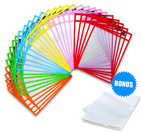 Dry Erase Pockets 30 Pack with Bonus 100 Thermal Laminating Pouches 3 mil, Perfectly Sized 10 inches x 14 inches Clear Folder Pocket Sleeves, Reusable 1000 Times, Wipe Clean, - Inch Pouch 10 Laminator