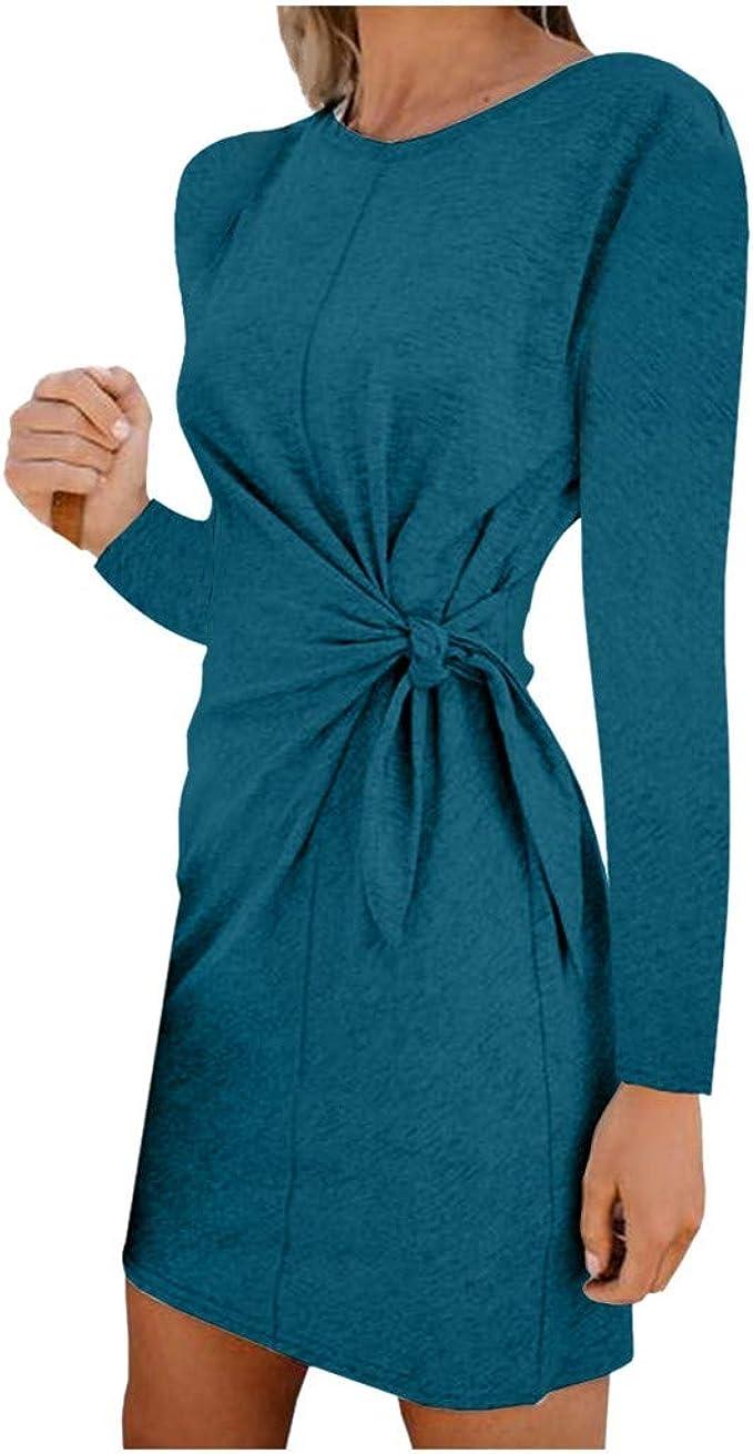 iYmitz Herbst Damen Kleider mit Bogen Frauen Slim Print Lange ...