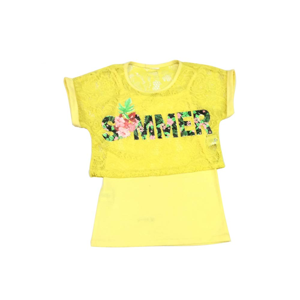 Children Baby Girls T Shirt Soft Undershirt Two Piece Summer Kids Tops Lace and Letter Print Outfit for Girls Yellow