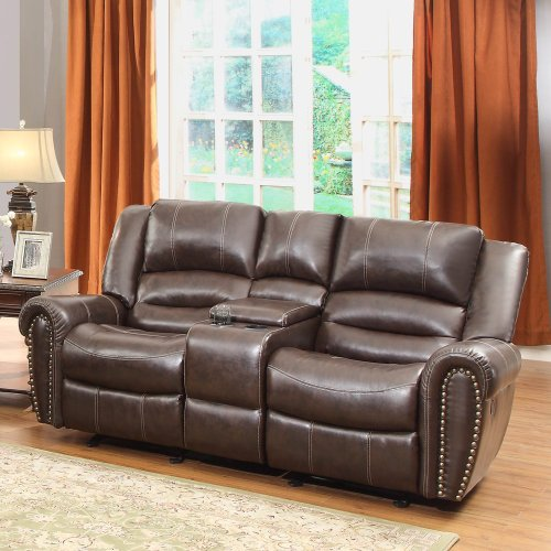 Homelegance 9668BRW-2 Double Glider Reclining Loveseat with Center Console, Brown Bonded Leather - Collection Brown Leather Loveseat