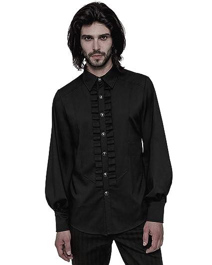 Punk Rave Mens Gothic Shirt Top Black Steampunk Regency Victorian Gentleman VTG