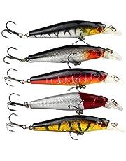 Acefast INC 5pcs Fishing Bass Lures Diving Crankbait Minnow Treble Hooks Baits 8.8g 8cm