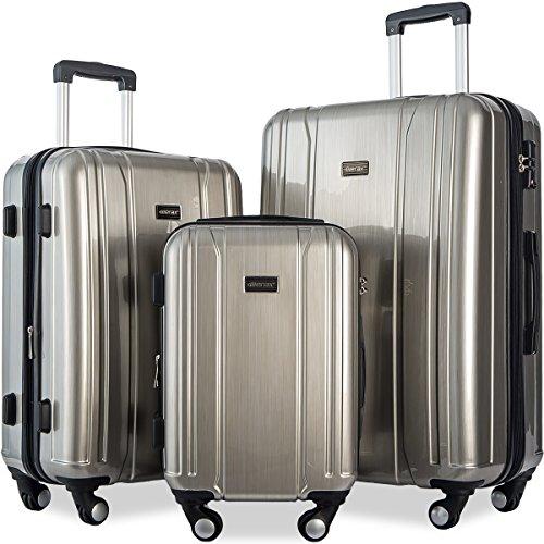Merax 3 Piece Expandable TSA Luggage Set (Space Silver)