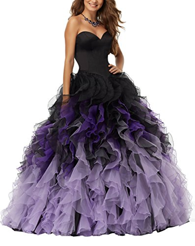 Meledy Women's Sweetheart Ball Gown Organza Sweet Sixteen Sleeveless Long Quinceanera Dresses for Girls Black and Purple US16
