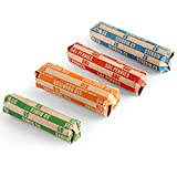 100 Assorted Bundle Flat Striped Coin Wrappers, 25 of Each