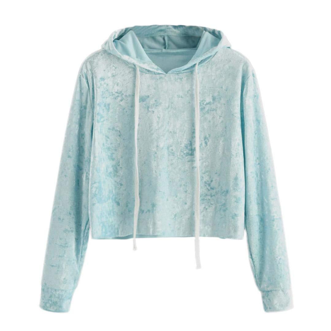 Spbamboo Womens Long Sleeve Hoodie Sweatshirt Jumper Pullover Tops Velvet Blouse