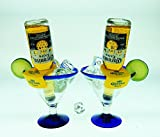 Mexican Glass Margarita Blue Rim 15 Oz with Coronarita Clips Corona Beer Holders (Set of 2)