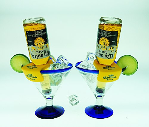 Mexican Glass Margarita Blue Rim 15 Oz with Coronarita Clips Corona Beer Holders (Set of ()