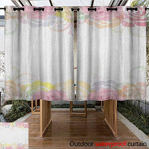 - AndyTours Outdoor Blackout Curtain,Rose,Tender Graceful Spring Themed Borders Floral Frame with Abstract Silhouette of Roses,Darkening Thermal Insulated Blackout,K183C160 Multicolor