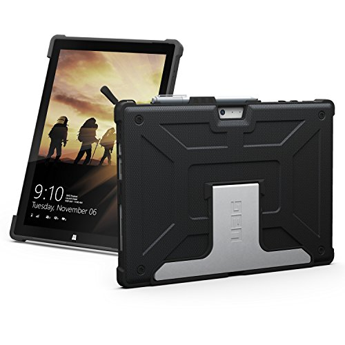 URBAN ARMOR GEAR UAG Microsoft Surface Pro 6/Surface Pro 5th Gen (2017)/Surface Pro 4 Feather-Light Rugged [Black] Aluminum Stand Military Drop Tested Case