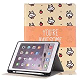 ipad pro 10.5'' Case Cover, Vacio Cute Cartoon PU Leather Flip Stand Smart Case Cover Slim Lightweight With Card Slots and Pencil Holder Wallet Case