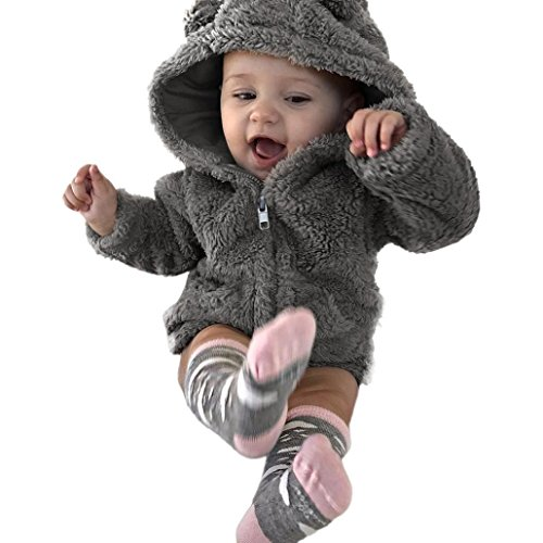 WARMSHOP Baby Boys Girls Fur Hoodie Winter Warm Coat Jacket Cute Thick Clothes (12-18 Months) (Infant Girl Winter Coat)