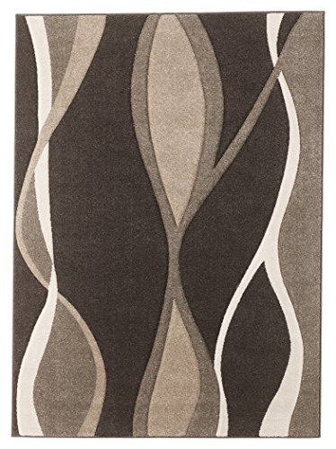 Ashley Furniture Signature Design - Cadence 5' x 7' Medium Rug - Comtemporary - Wave Design in Brown/Tan/White ()