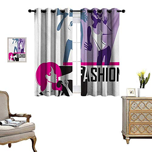 - Teen Girls Waterproof Window Curtain Composition of Girls Yelling into Megaphone Modern Stylish Fashion Themed Art Blackout Draperies for Bedroom W72 x L72 Purple Black