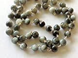 KALISA GEMS Beads Gemstone 5 feet Cats Eye Plain Round Balls Beads in 925 Silver Wire Wrapped Rosary Style Chain Emerald Beaded Chain
