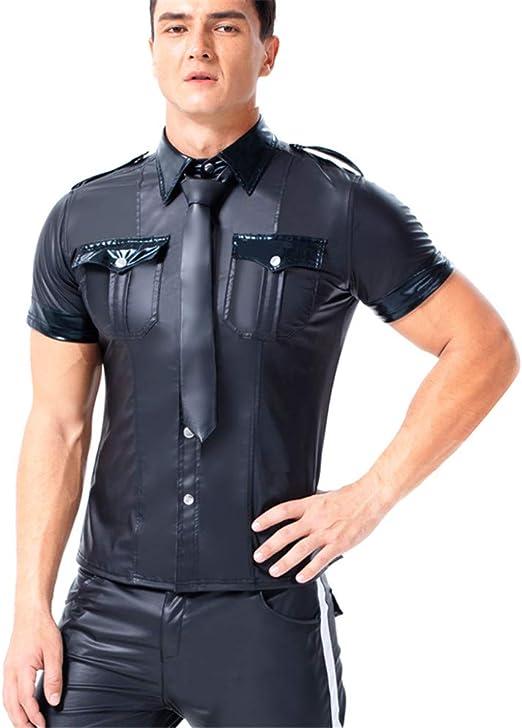 AFYH Camisa de Lentejuelas para Hombres, Camiseta de Charol para Hombres, Camiseta Negra para Casual/Entretenimiento/Baile/Fiesta,3XL: Amazon.es: Hogar