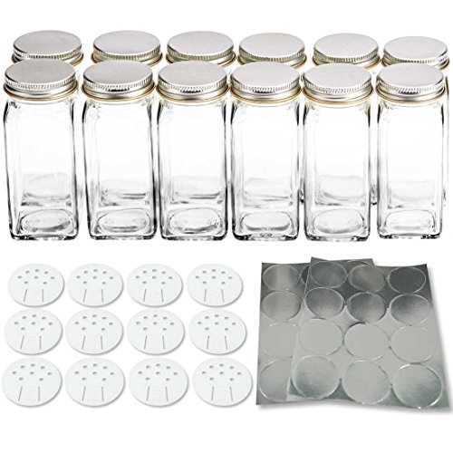 12 Square Glass Spice Bottles 4oz Spice Jars with Silver Metal Lids, Shaker Tops, and Labels by SpiceLuxe