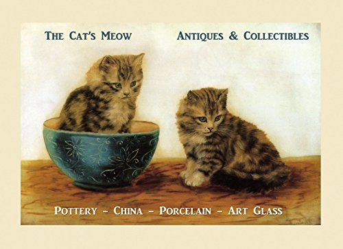 "CANVAS Beautiful Kittens Playing with a Pot Cat's Meow Pottery China Porcelain Art Glass Vintage Poster Repro 12"" X 16"" Image Size ON CANVAS. We Have Other Sizes Available ! from Heritage Posters"