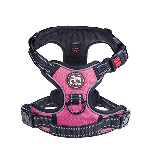 No Pull Dog Harness, No Choke Front Lead Dog Reflective Harness, Adjustable Soft Padded Pet Vest with Easy Control Handle for Small to Large Dogs(Pink,XL)