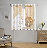 Stylish Window Curtains,Compass,Nautical Themed Compass Marine Life Inspired Windrose Ship Rope Background Decorative,Sand Brown Marigold,2 Panel Set Window Drapes,for Living Room Bedroom Kitchen Cafe