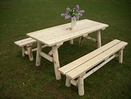 Pleasant White Cedar Log Picnic Table With Detached Bench 6 Foot Forskolin Free Trial Chair Design Images Forskolin Free Trialorg
