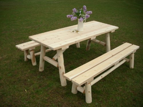 Furniture Barn USA White Cedar Log Picnic Table with Detached Bench - 6 Foot