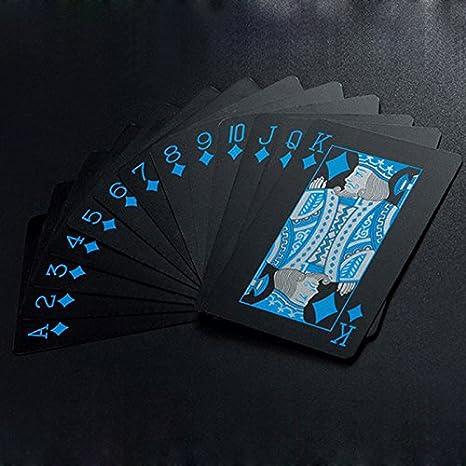 Juego de cartas de póquer impermeable en PVC para juegos de magia, color negro