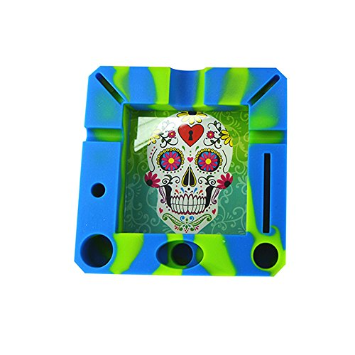 Kipp Brothers Silicone Eco-Friendly Ashtray Unbreakable Soft Rubber, Heat Resistant to High Temperature, Cigarette Holder for Smokers - Sugar Skull ()